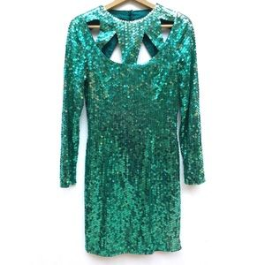 Vintage 90s Jade Sequin Cage Cutout Mini Dress
